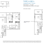 Poiz Residences Floor Plan 2 Bedroom Study Habitat BS1