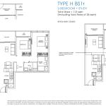 Poiz Residences Floor Plan 2 Bedroom Study Habitat BS1